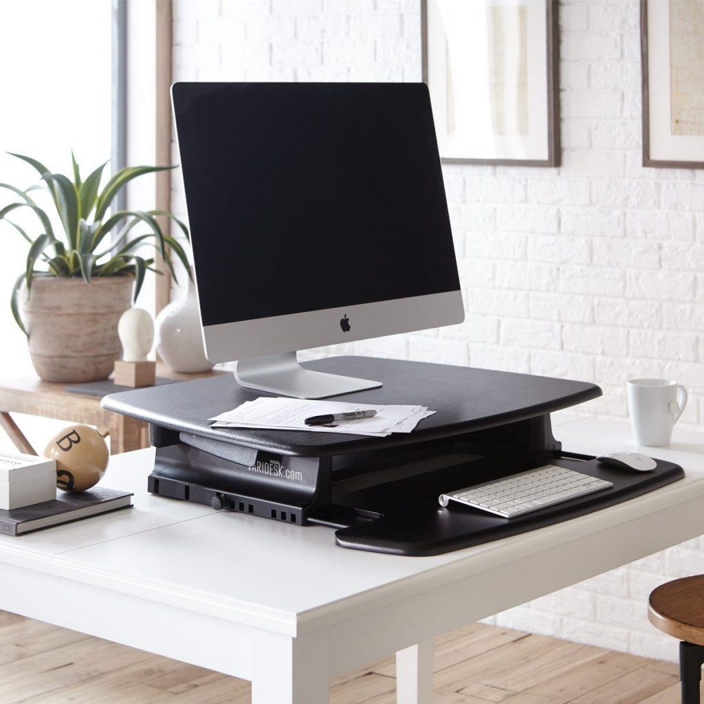 Varidesk Pro 30 in down position; keyboard tray extended