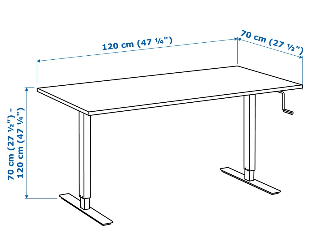With A Width Of 47¼u201d And Depth Of 27½u201d (oddly Enough, Thatu0027s Also The  Height Range) The Surface Area Of The SKARSTA Is On Par With A Full Size  Desk.